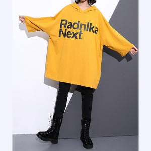 Elegant yellow natural cotton t shirt trendy plus size hooded traveling clothing vintage back side open cotton t shirt