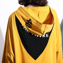 Load image into Gallery viewer, Elegant yellow natural cotton t shirt trendy plus size hooded traveling clothing vintage back side open cotton t shirt