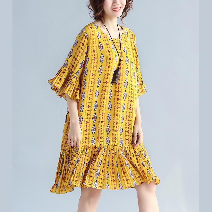 Elegant yellow prints chiffon shift dresses oversized chiffon clothing dresses women ruffles hem ruffles sleeve dress