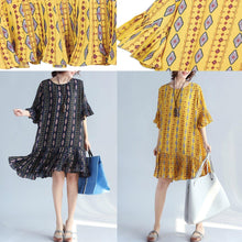 Load image into Gallery viewer, Elegant yellow prints chiffon shift dresses oversized chiffon clothing dresses women ruffles hem ruffles sleeve dress