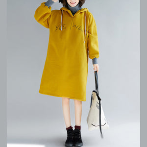 Elegant yellow spring dress oversized false two pieces holiday dresses hooded