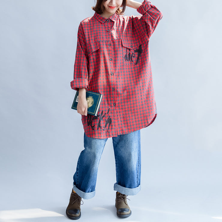Fall 2021 grid alphabet prints red cotton shirts plus size casual long sleeve tops