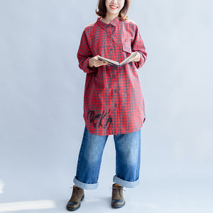 Fall 2017 grid alphabet prints red cotton shirts plus size casual long sleeve tops