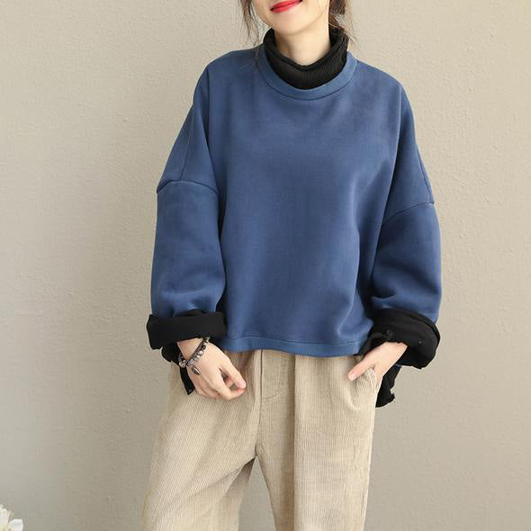 Fall Winter Vintage Casual Quilted Blue High Neck Fleece Women Cotton Tops