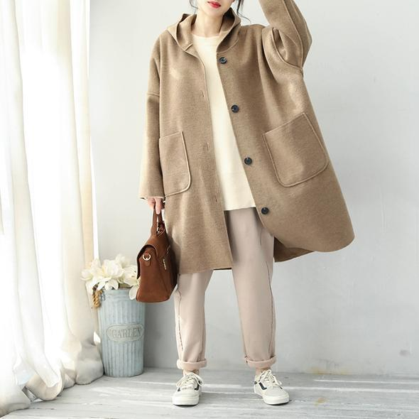 Fashion 2018 Khaki Simple Hoodie Medium Length Woolen Coat For Women
