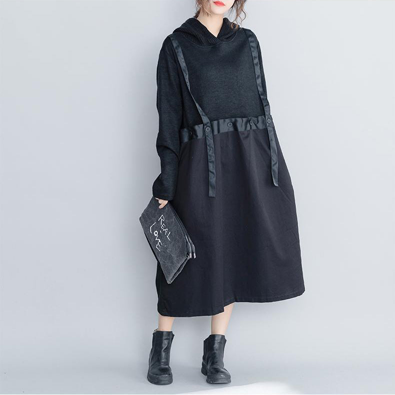 Fashion Black Hoodie Quilted Maxi Dresses Women Loose Clothes