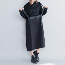 Load image into Gallery viewer, Fashion Black Hoodie Quilted Maxi Dresses Women Loose Clothes