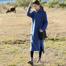 Load image into Gallery viewer, Fashion Blue And Red High Neck Maxi Sweater Dresses For Women