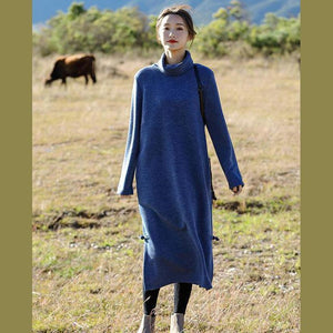 Fashion Blue And Red High Neck Maxi Sweater Dresses For Women