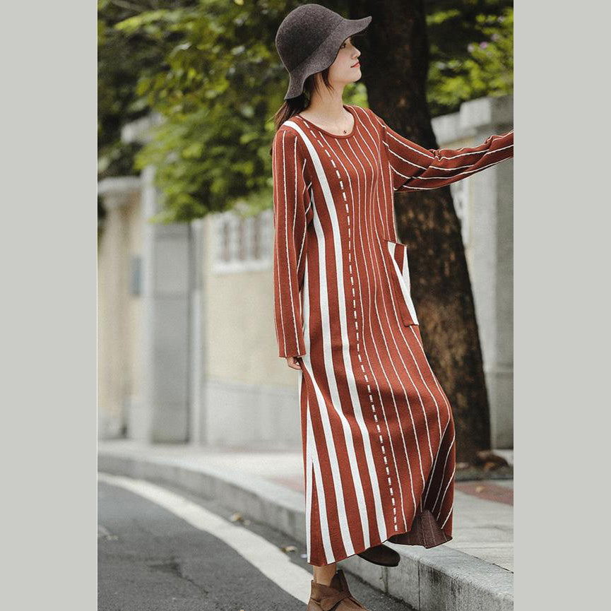 Fashion Brown Striped Baggy Maxi Sweater Dresses For Women