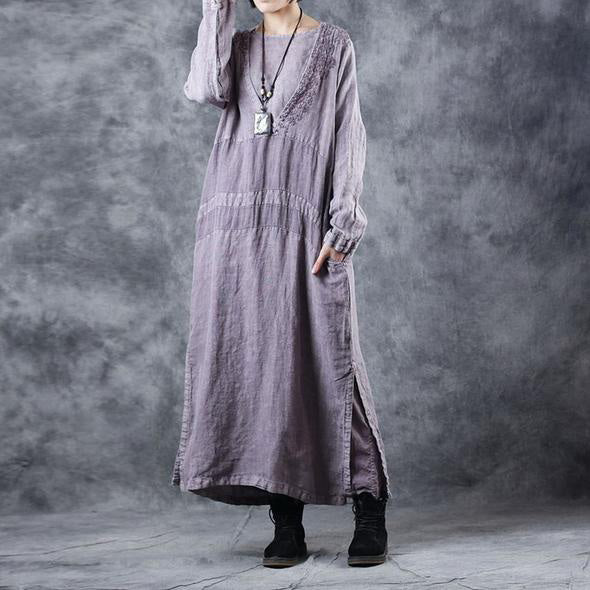 Fashion Embroidery Purple Cotton Linen Dresses For Women