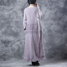 Load image into Gallery viewer, Fashion Embroidery Purple Cotton Linen Dresses For Women