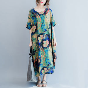 Fashion Flower Print Plus Size Casual Loose Summer Dresses