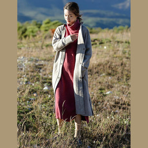 Fashion Gray Loose Woolen Overcoat New Women Casual Outfits