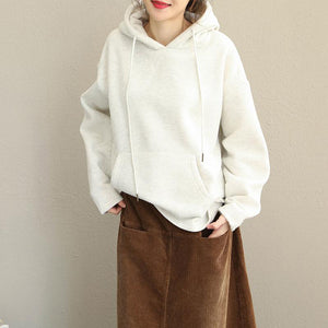 Fashion Hoodie Pure Color Brushed Fleece For Women