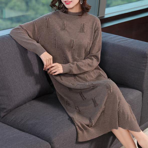 Fashion Loose Pure Color Knitted Dresses Women Casual Clothes