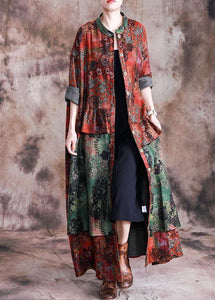 Fashion Loose fall red patchwork green print pockets coat for woman