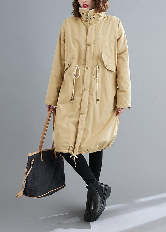Fashion Loose fitting mid-length coats khaki Square Collar drawstring Woolen Coats