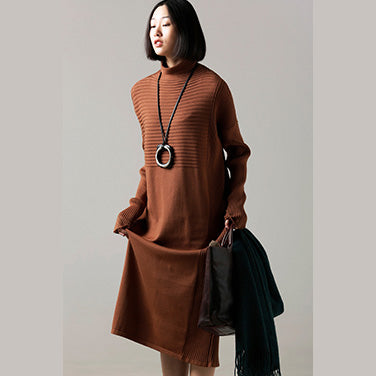 96bd9a6c8e Fashion Sweater dress outfit Classy high neck wrinkled brown Mujer knit  dress ...
