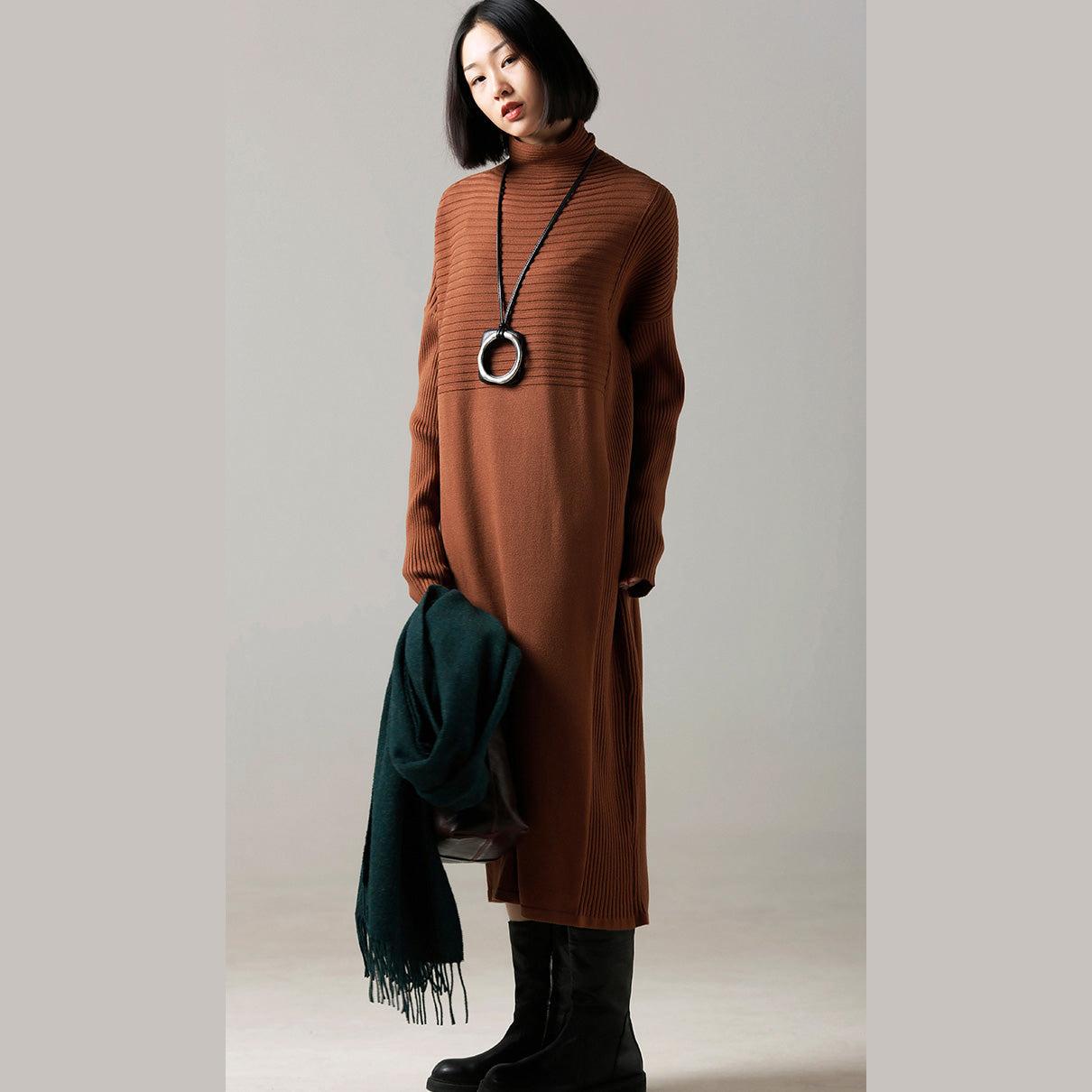 47edae1bb0 ... Fashion Sweater dress outfit Classy high neck wrinkled brown Mujer knit  dress ...