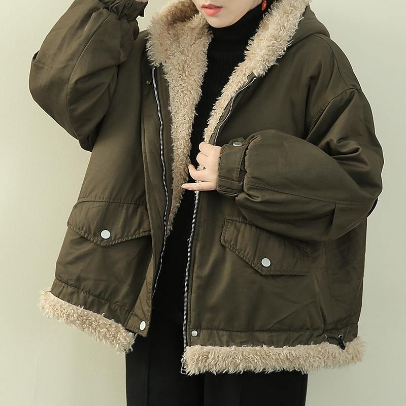 Fashion army green clothes hooded zippered casual knitwear fuzzy wool coat