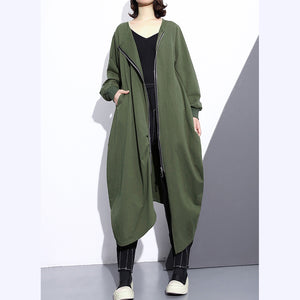 Fashion army green long coat oversize O neck asymmetrical design outwear Fashion zippered coats
