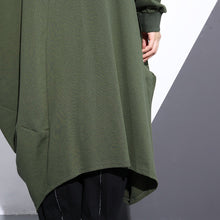 Load image into Gallery viewer, Fashion army green long coat oversize O neck asymmetrical design outwear Fashion zippered coats
