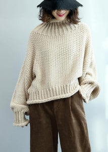 Fashion beige knit tops high neck lantern sleeve trendy plus size knit tops