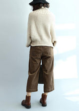 Load image into Gallery viewer, Fashion beige knit tops high neck lantern sleeve trendy plus size knit tops