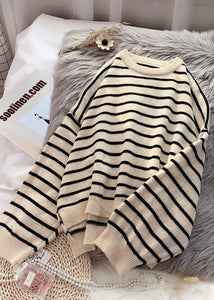 Mode beige gestreifte Pullover trendige Plus Size O Neck Low High Design Sweater Bluse