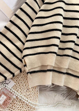 Load image into Gallery viewer, Fashion beige striped sweaters trendy plus size o neck low high design Sweater Blouse