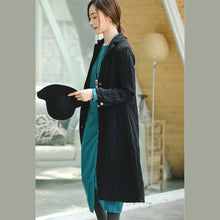 Load image into Gallery viewer, Fashion black Coat trendy plus size Notched pockets Winter coat boutique long sleeve coat