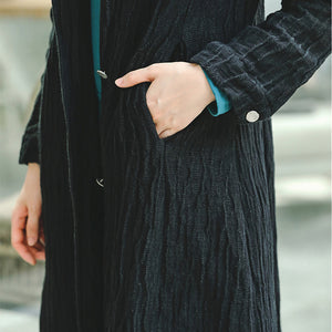 Fashion black Coat trendy plus size Notched pockets Winter coat boutique long sleeve coat