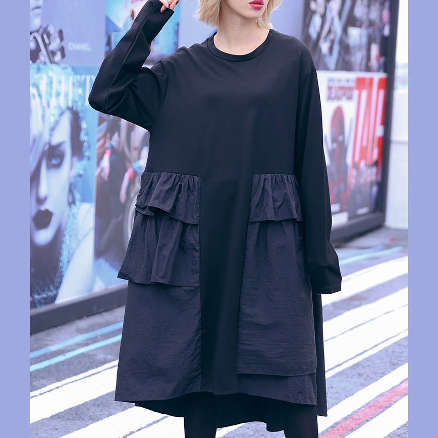 Fashion black Cotton Tunics plus size Outfits patchwork daily Dresses