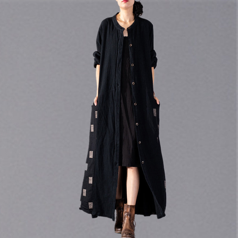 Fashion black Plaid Coats plus size patchwork Coat Fashion large hem Coat