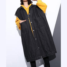 Load image into Gallery viewer, Fashion black coat Loose fitting lapel Coats top quality pockets sleeveless coat