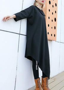Fashion black patchwork cotton outfit o neck half sleeve Robe summer Dresses