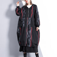 Load image into Gallery viewer, Fashion black print coat oversized stand collar cardigans Elegant wrinkled baggy coats