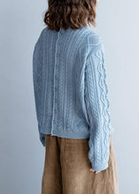 Load image into Gallery viewer, Fashion blue knit tops high neck Button Down plus size knit sweat tops