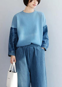 Fashion blue knitted pullover patchwork sleeve fashion o neck knit tops