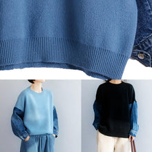 Load image into Gallery viewer, Fashion blue knitted pullover patchwork sleeve fashion o neck knit tops