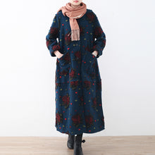 Load image into Gallery viewer, Fashion blue long coat plussize cardigans Elegant jacquard long coat floral
