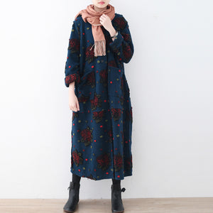 Fashion blue long coat plussize cardigans Elegant jacquard long coat floral