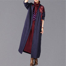 Load image into Gallery viewer, Fashion blue maxi coat oversized embroidery baggy trench coat New side open Coat