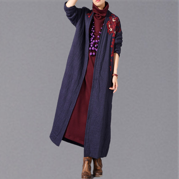 Fashion blue maxi coat oversized embroidery baggy trench coat New side open Coat