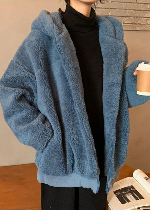 Fashion blue woolen overcoat Loose fitting mid-length coats hooded winter outwear