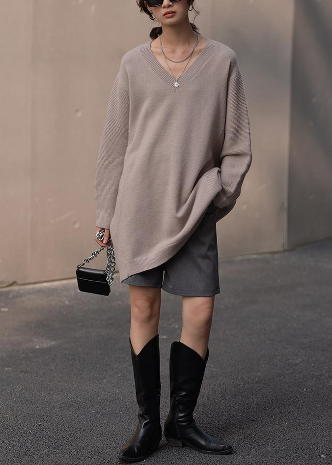 Fashion brown knit blouse v neck Loose fitting fall knitted blouse