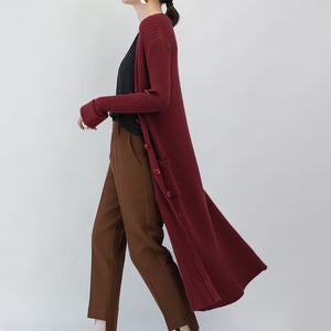 Fashion burgundy maxi coat Loose fitting V neck slim long coat Fine pockets coats