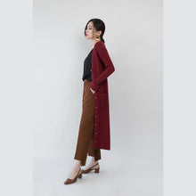 Load image into Gallery viewer, Fashion burgundy maxi coat Loose fitting V neck slim long coat Fine pockets coats
