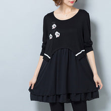 Load image into Gallery viewer, Fashion casual black false two pieces cotton blended dresses plus size  ruffles dresses